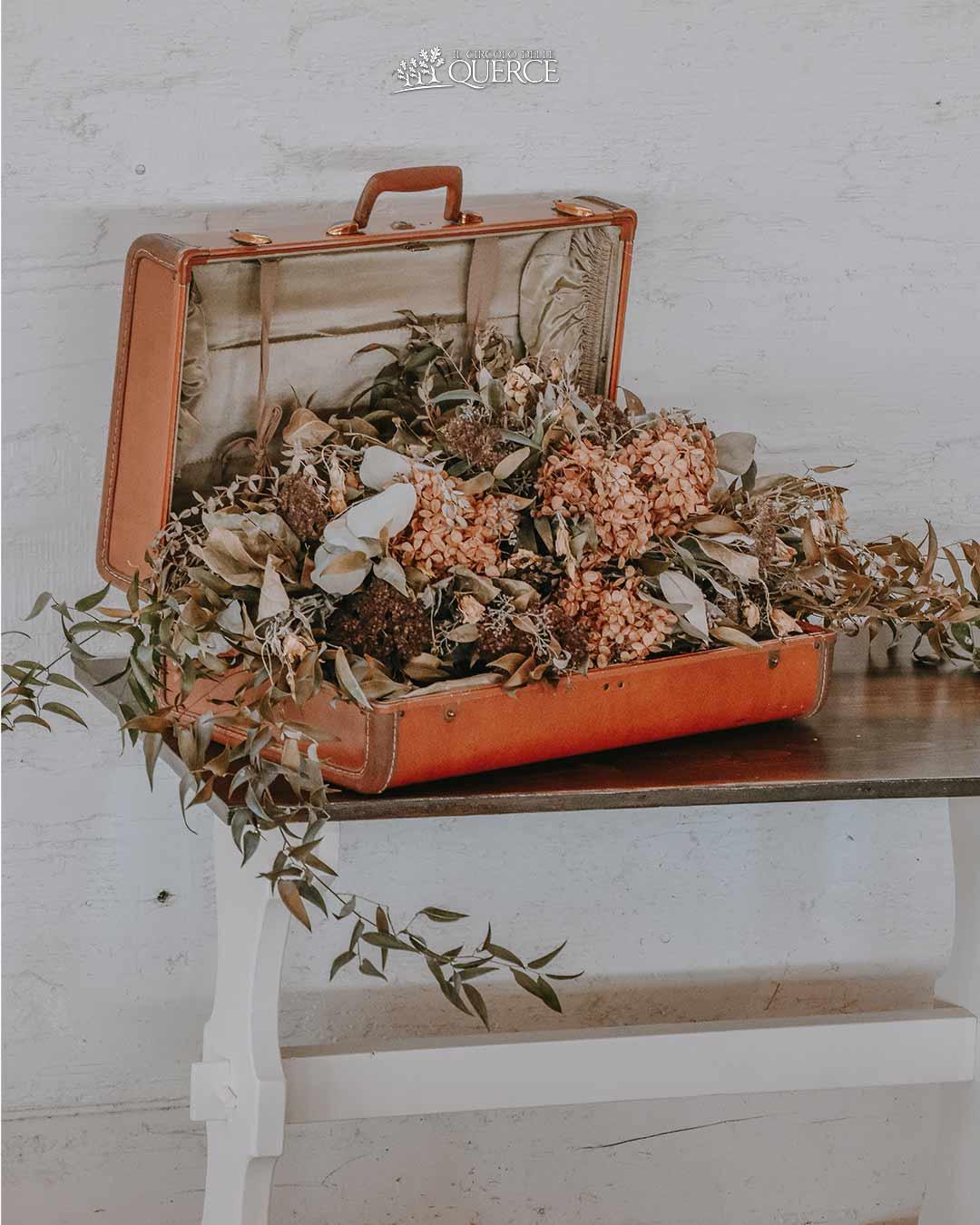 valigia vintage con fiori